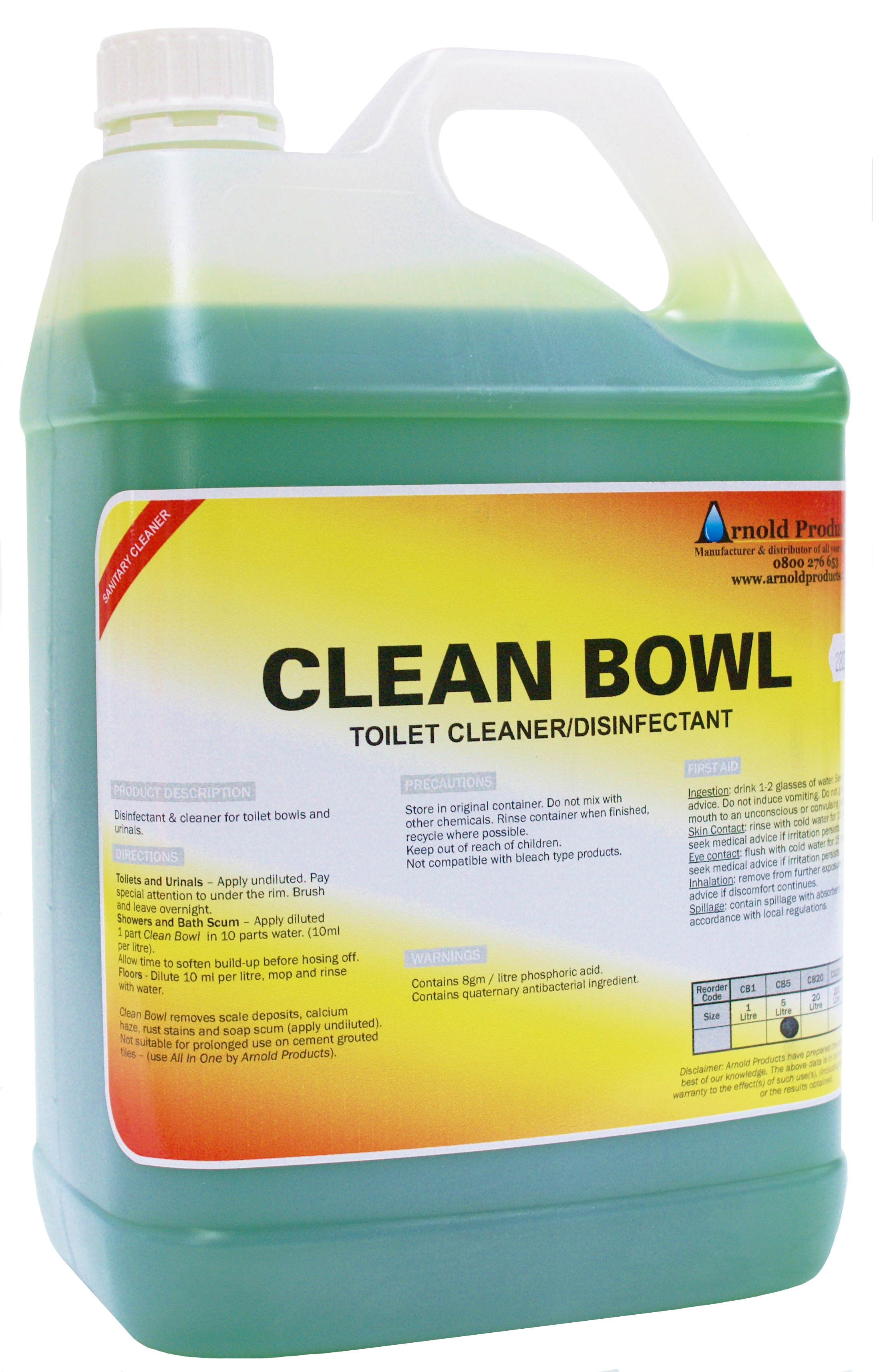 5l Clean Bowl Toilet Cleaner Amp Disinfectant Arnold