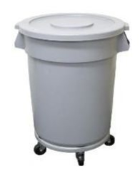80L HEAVY DUTY ROUND BIN WITH LID AND DOLLY BASE